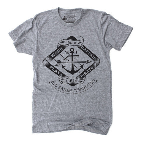 Unisex T-Shirt Work Like a Captain Play Like a Pirate Heather Grey - Our Nation's Creations