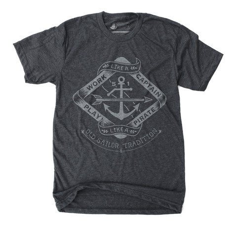 Unisex T-Shirt Work Like a Captain Play Like a Pirate Heather Black - Our Nation's Creations