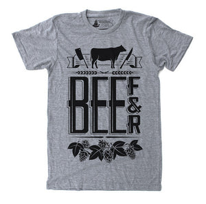 Unisex T-Shirt Beef and Beer Heather Grey - Our Nation's Creations