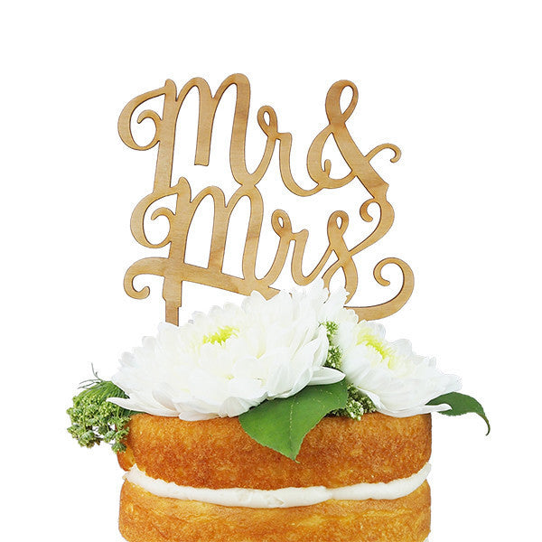 "Cake Topper ~ ""Mr.and Mrs."" Cherry Wood - Our Nation's Creations"