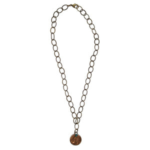 "Good Luck Penny on 18"" Brass Link Necklace with Turquoise Nugget - Our Nation's Creations"