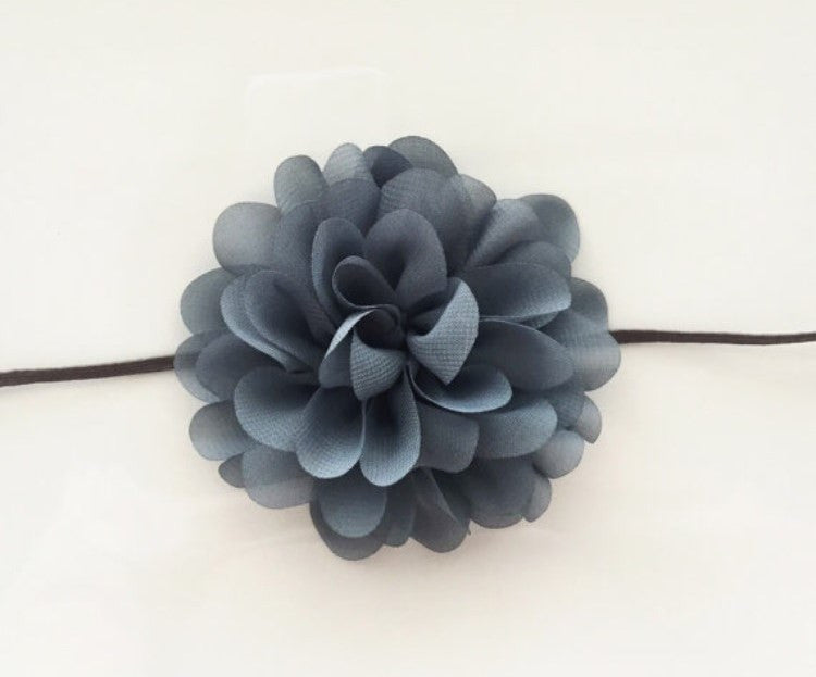 Headband ~ Dusty Chiffon Navy Flower - Our Nation's Creations