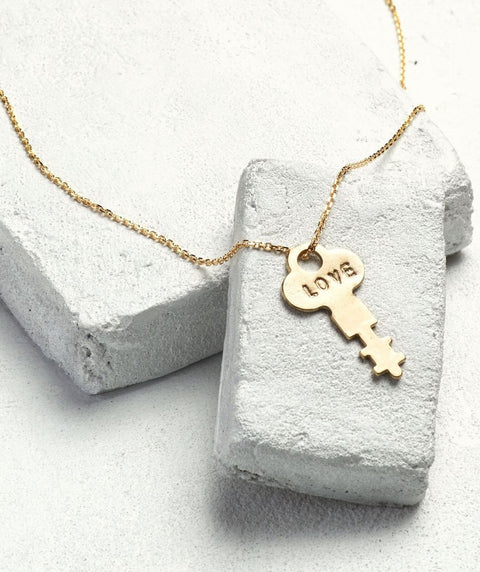 "The Giving Keys 36"" LOVE XL Dainty Pendant Gold - Our Nation's Creations"