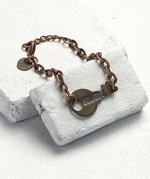 "TGK 7 1/2  to 8"" BELIEVE Never Ending Bracelet Antique Copper - Our Nation's Creations"