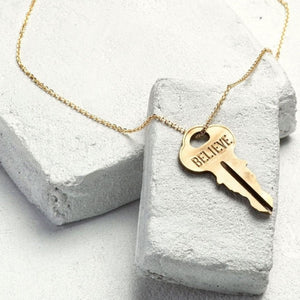 "TGK XL Dainty 36"" Gold Pendant Believe - Our Nation's Creations"