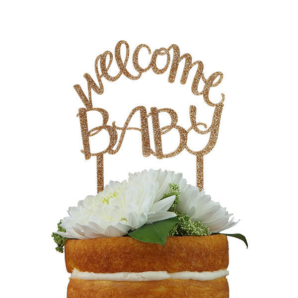 "Cake Topper ~ ""Welcome Baby"" Gold Glitter - Our Nation's Creations"