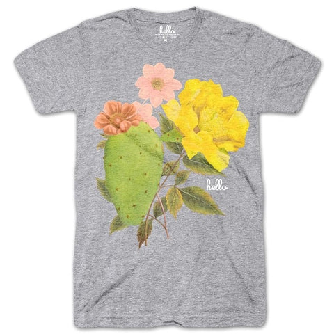 Adult T-Shirt Cactus Blossoms Heather Grey - Our Nation's Creations