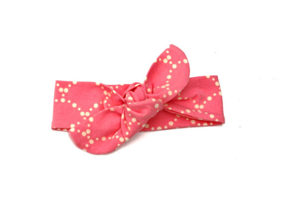 Headband Knotted Pink Scallop - Our Nation's Creations