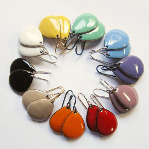 Colorful enamel teardrop earrings