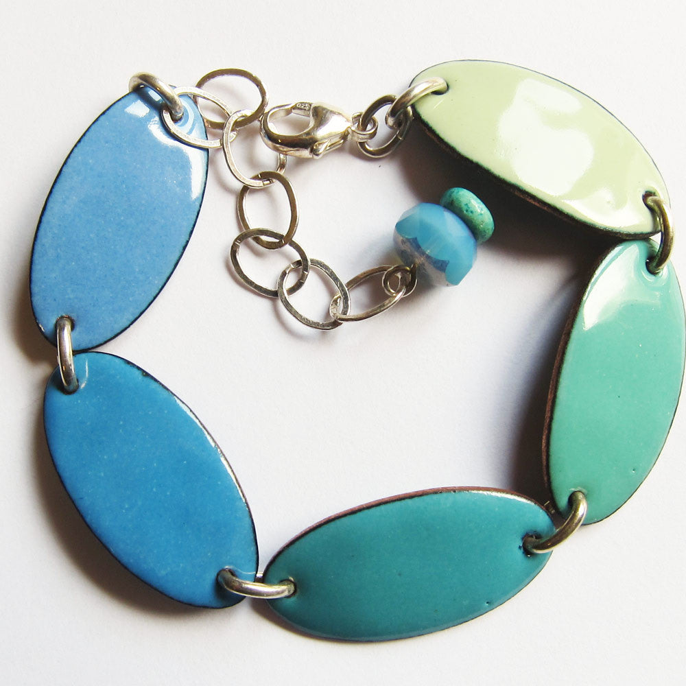 Enamel bracelet in blue and greens