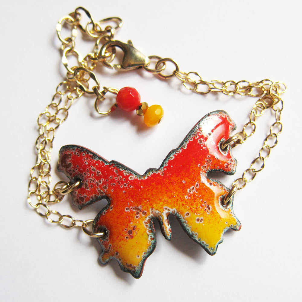 Orange enamel butterfly bracelet with gold chains