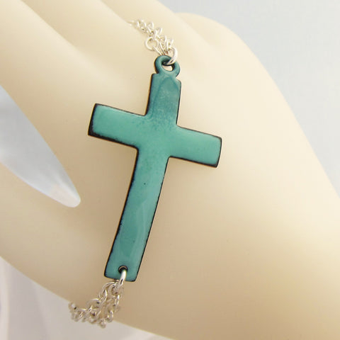 Enamel Cross Bracelet in Teals - Sterling Silver Chain