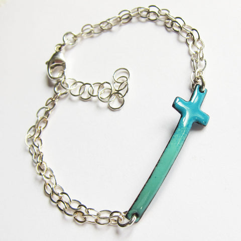 Small Teal Cross Enamel Bracelet