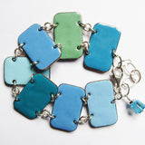 Colorful bohemian bracelet in shades of blue enamel