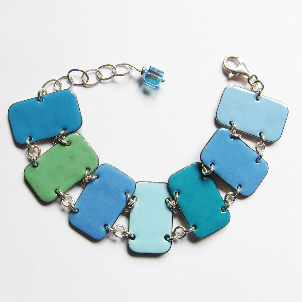 Blue enamel bracelet in 6 blue and green hues