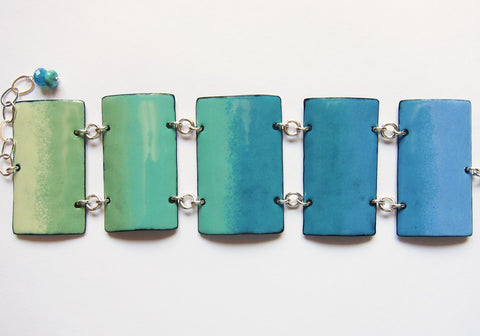 Blue Enamel Cuff Bracelet - Ombre Pattern Blues Teals and Greens