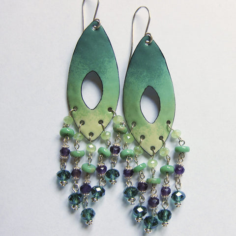 Big Turquoise Enamel and Crystal Chandelier Earrings - Green and Purple Statement Jewelry