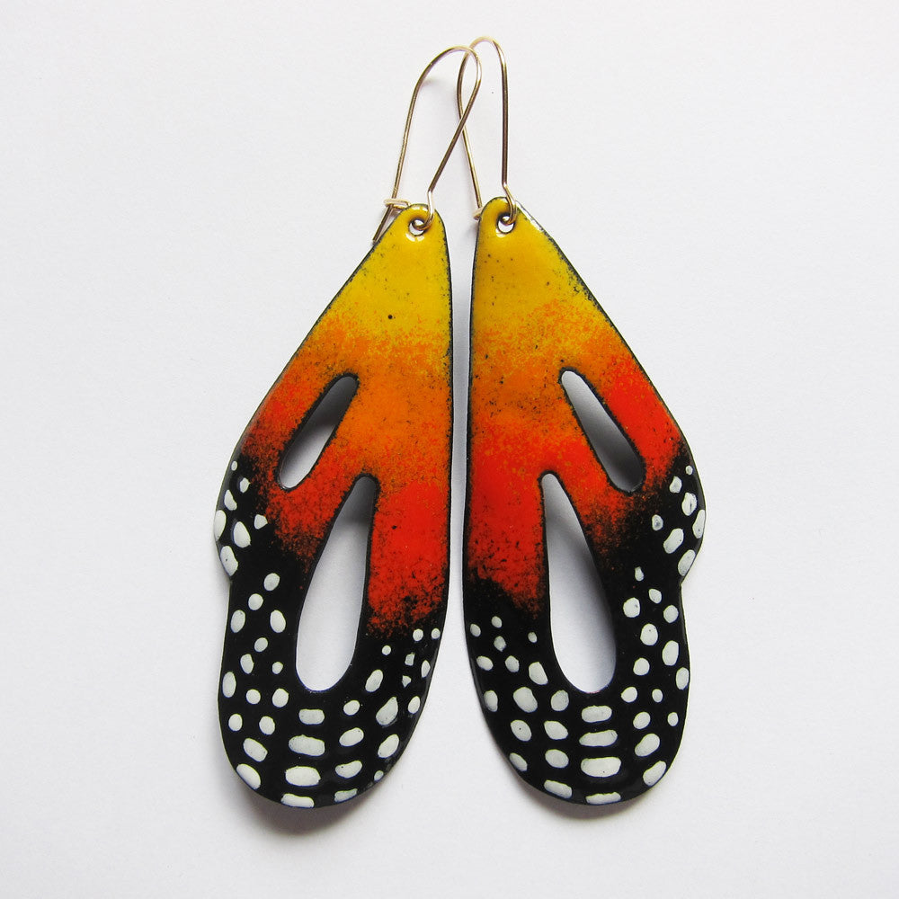 Big butterfly earrings in orange enamel