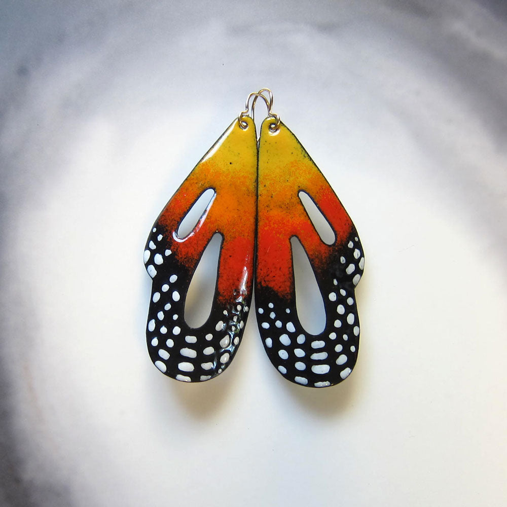 Butterfly earrings in orange enamel