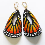 Big butterfly earrings in orange enamel - gold lever back ear wires