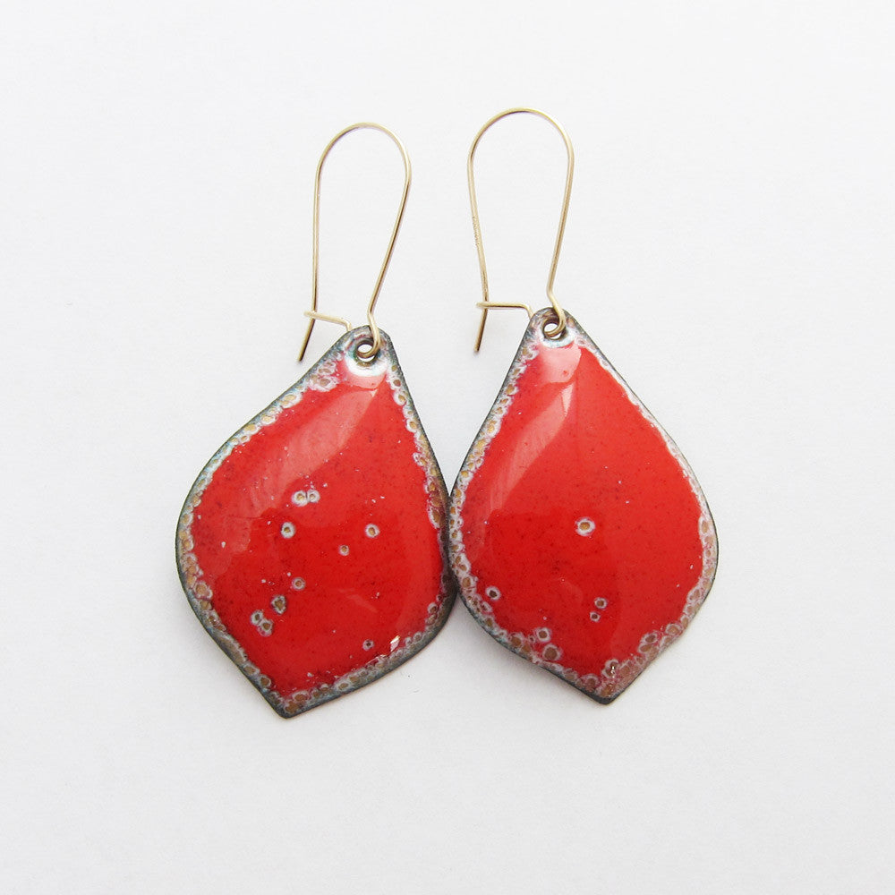 Red and gold petal enamel earrings