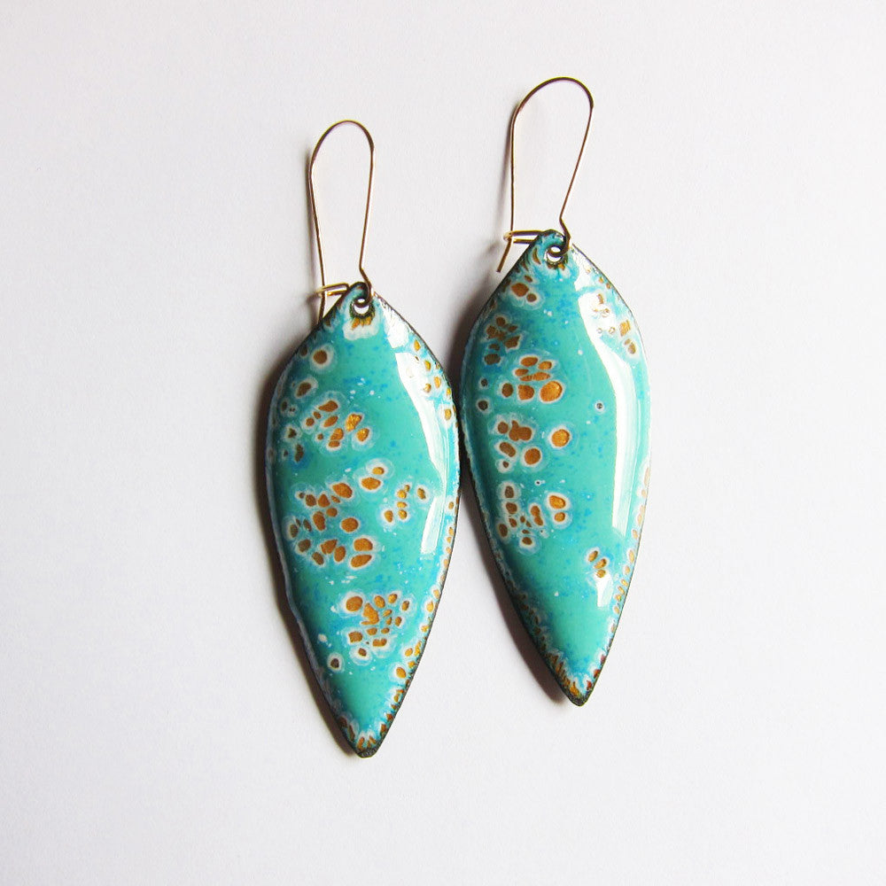 Mint green enamel leaf earrings