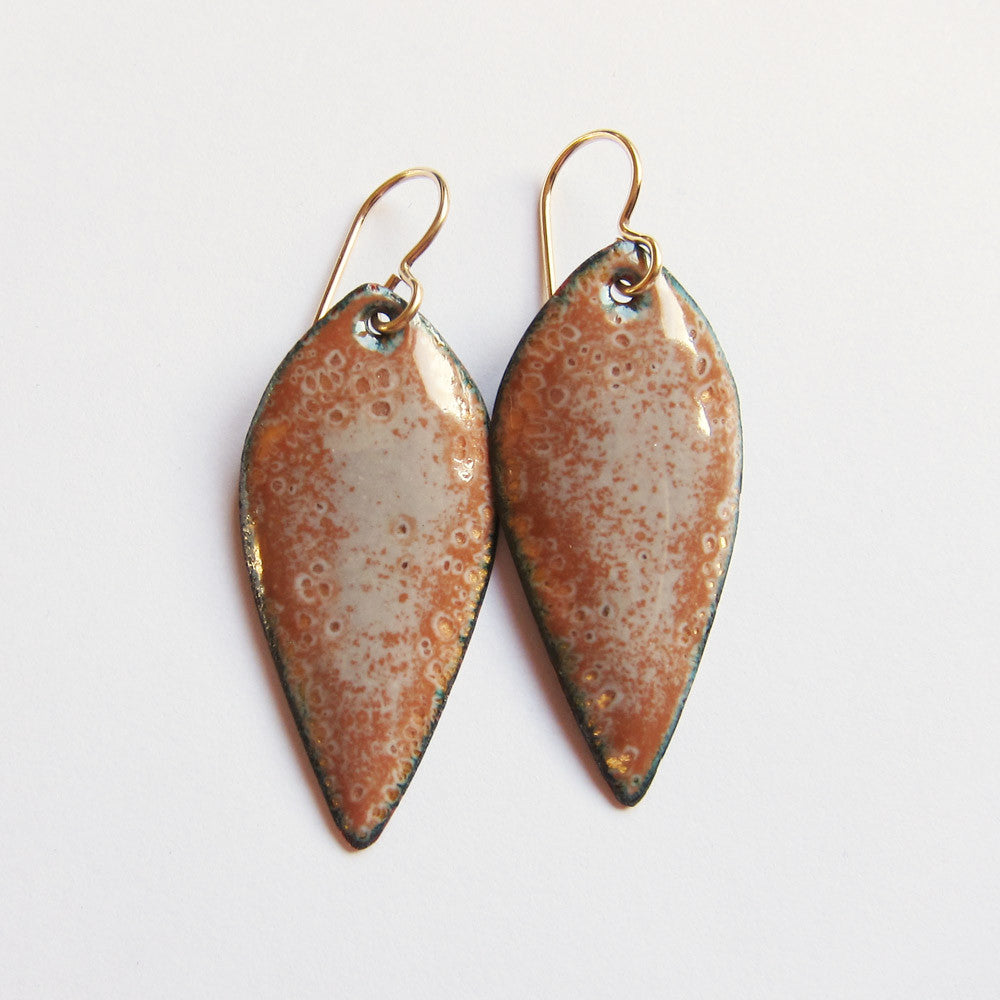Gold leaf enamel earrings on gold wires