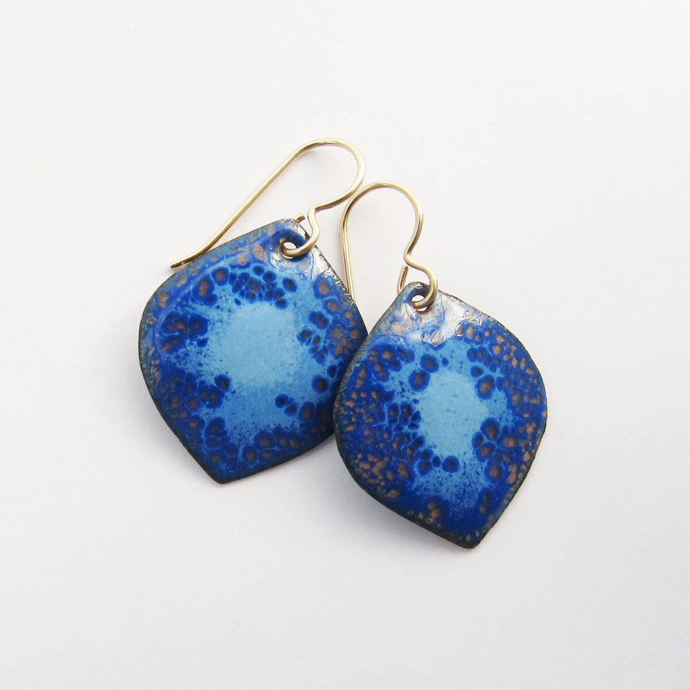 Gold and blue enamel earrings, leaf earrings, gold wires
