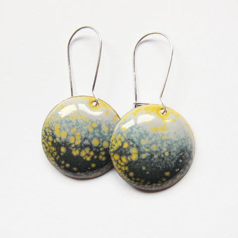 Gray and Yellow Enamel Earrings - Silver Kidney Wires