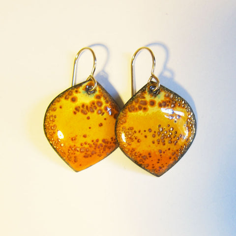 Yellow Orange Enamel Dangle Earrings, Leaf Drops on Gold Wires