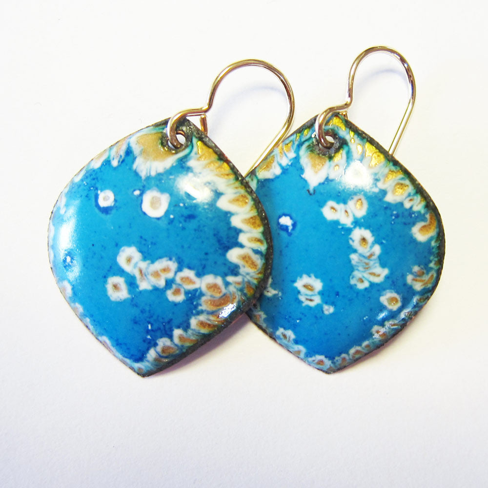 Enamel Blue Petal / Leaf Earrings - Gold Wires