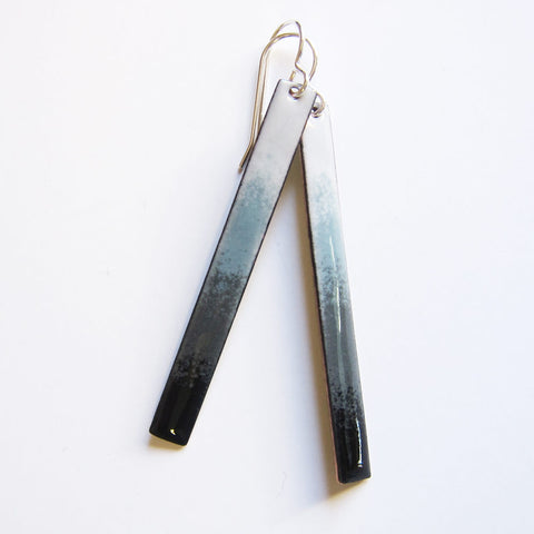 Enamel Long Gray Black Ombre Bar Earrings