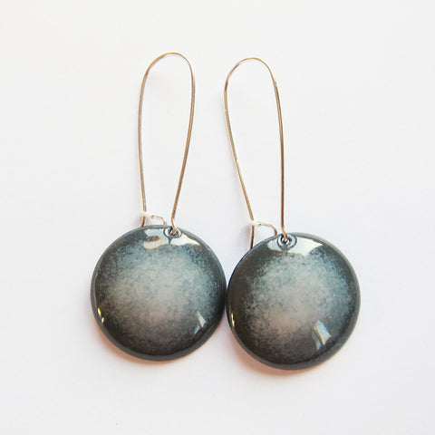 Enamel Earrings in Shades of Gray - Sterling Silver Kidney Wires