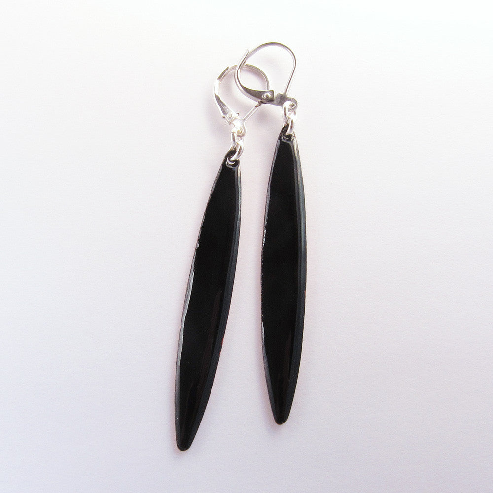 Long black enamel earrings