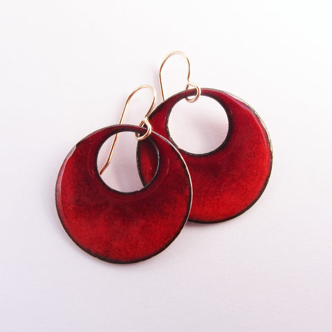Red Enamel Hoop Earrings - Gold Wires