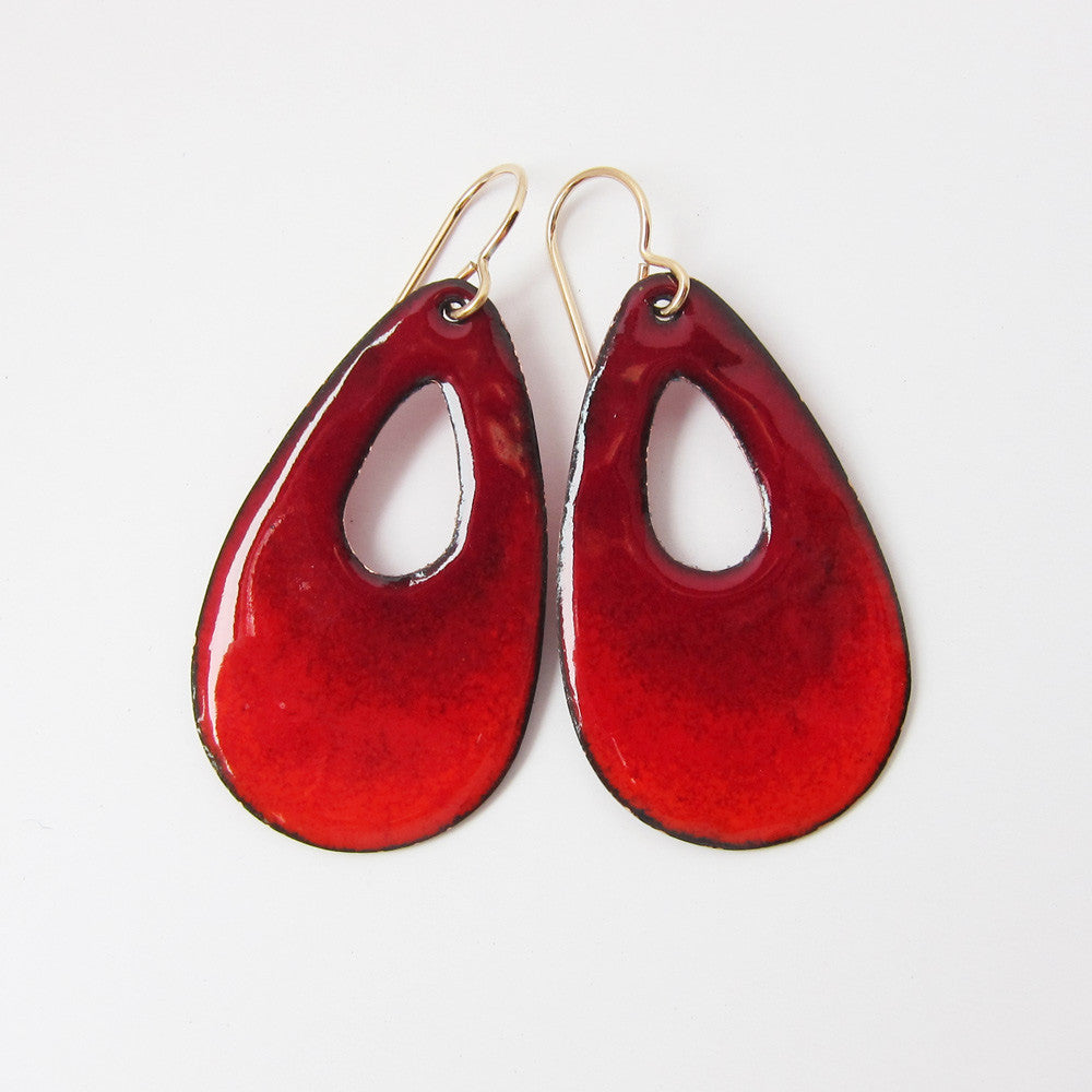 Red enamel teardrop earrings - gold wires