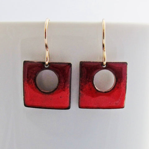 Tiny Red Square Enamel Earrings - Gold Wires