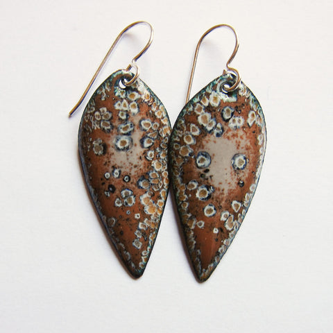 Brown Enamel Leaf Earrings