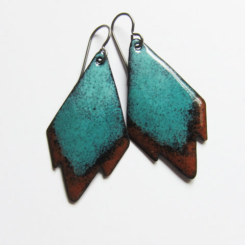 Brown and Turquoise Enamel Tribal Earrings Hypoallergenic Niobium Ear Wires