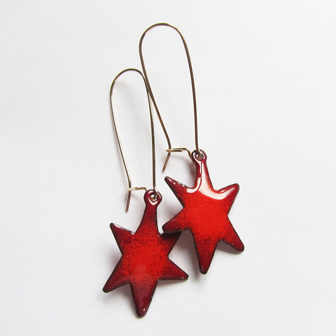 Red Star Earrings in Enamel - Long Gold Kidney Wires
