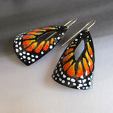 orange butterfly earrings in enamel