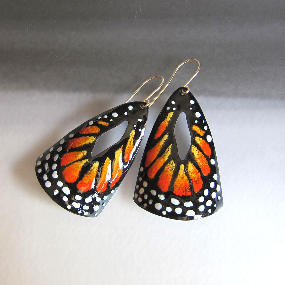 Big enamel monarch butterfly earrings