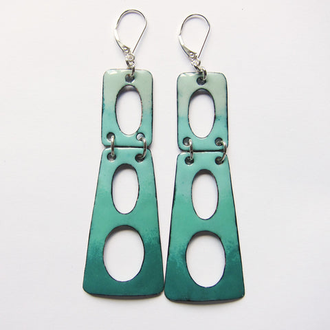 Big Teal Modern Earrings - Enamel on Leverback Earrings