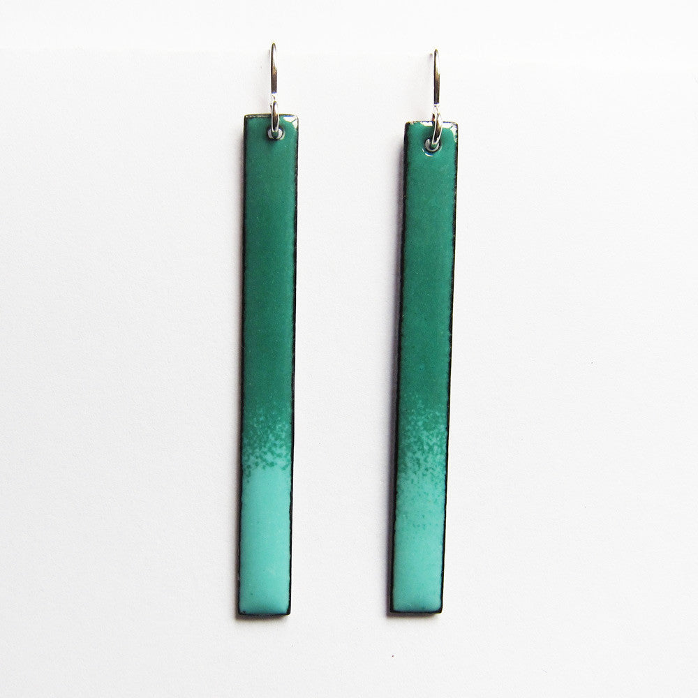 Turquoise enamel bar earrings