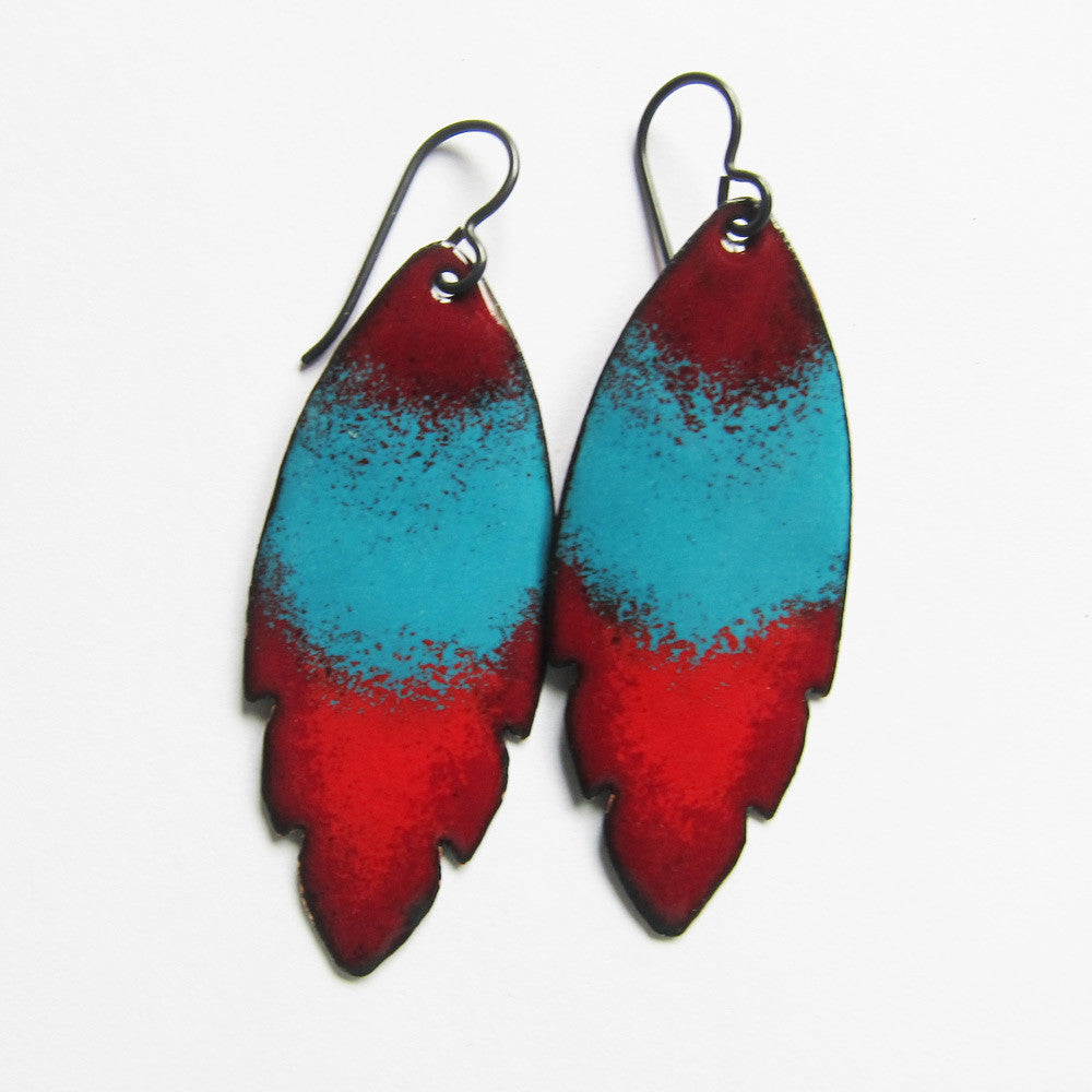 Tribal earrings in red and teal blue enamel - niobium ear wires