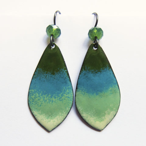 Enamel Green Dangle Earrings - Hypoallergenic Niobium Ear Wires