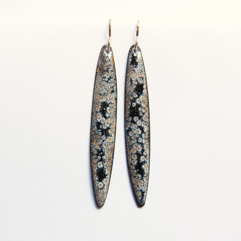Long Gold and Black Enamel Earrings on Gold Wires