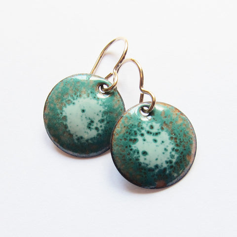 Aqua Teal Enamel Earrings on Gold Wires