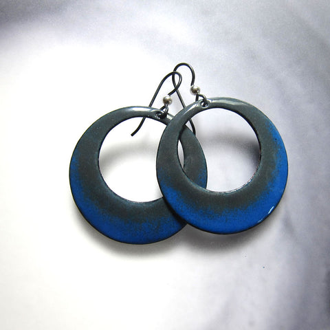 Big Blue and Gray Enamel Hoop Earrings