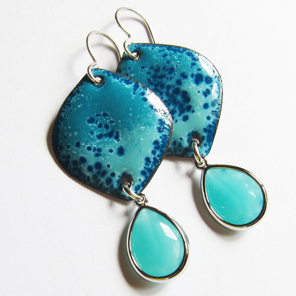 Dangle earrings in turquoise enamel with aqua teardrops